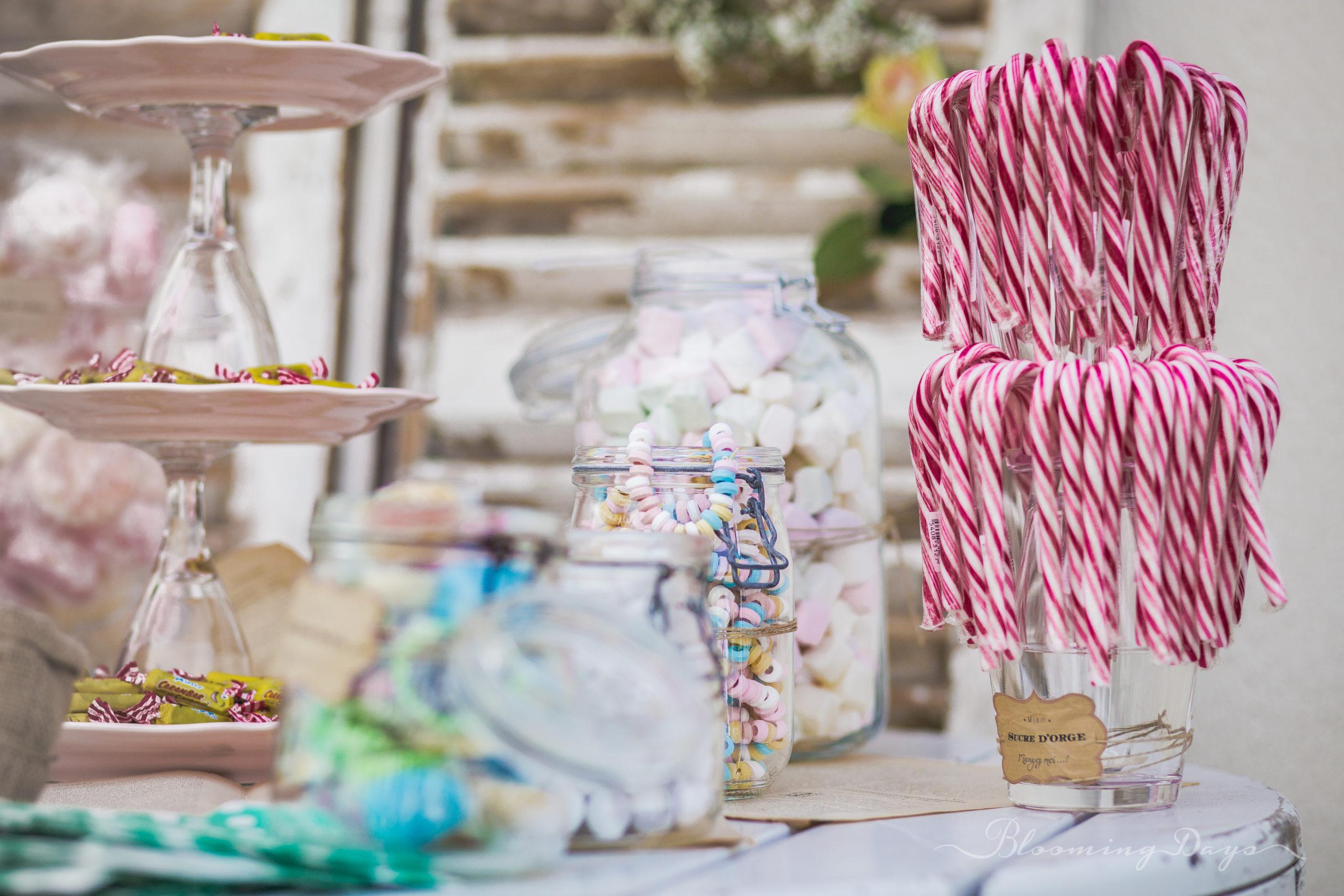 Scénographie candy bar / decoration de mariage Normandie - Falaise