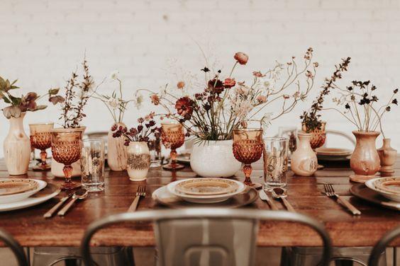 décoration de table mariage terracotta