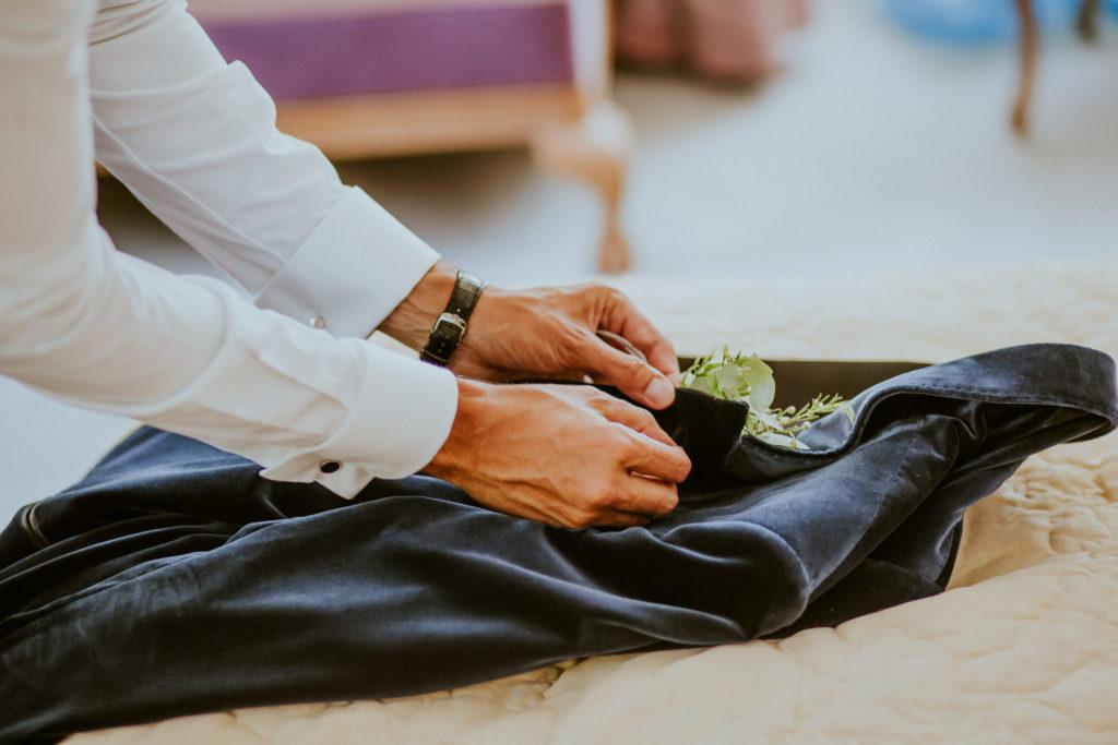 Boutonnière marié mariage végétal Normandie