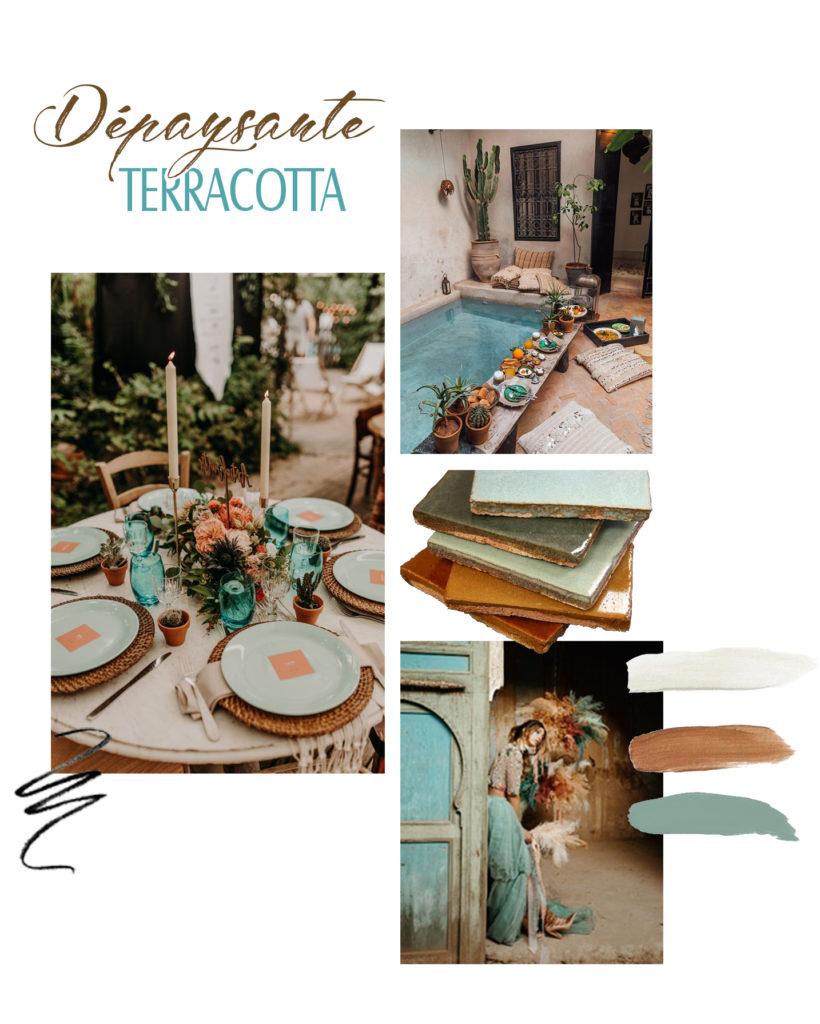 planche inspiration dépaysante terracotta marie desaunay wedding designer calvados
