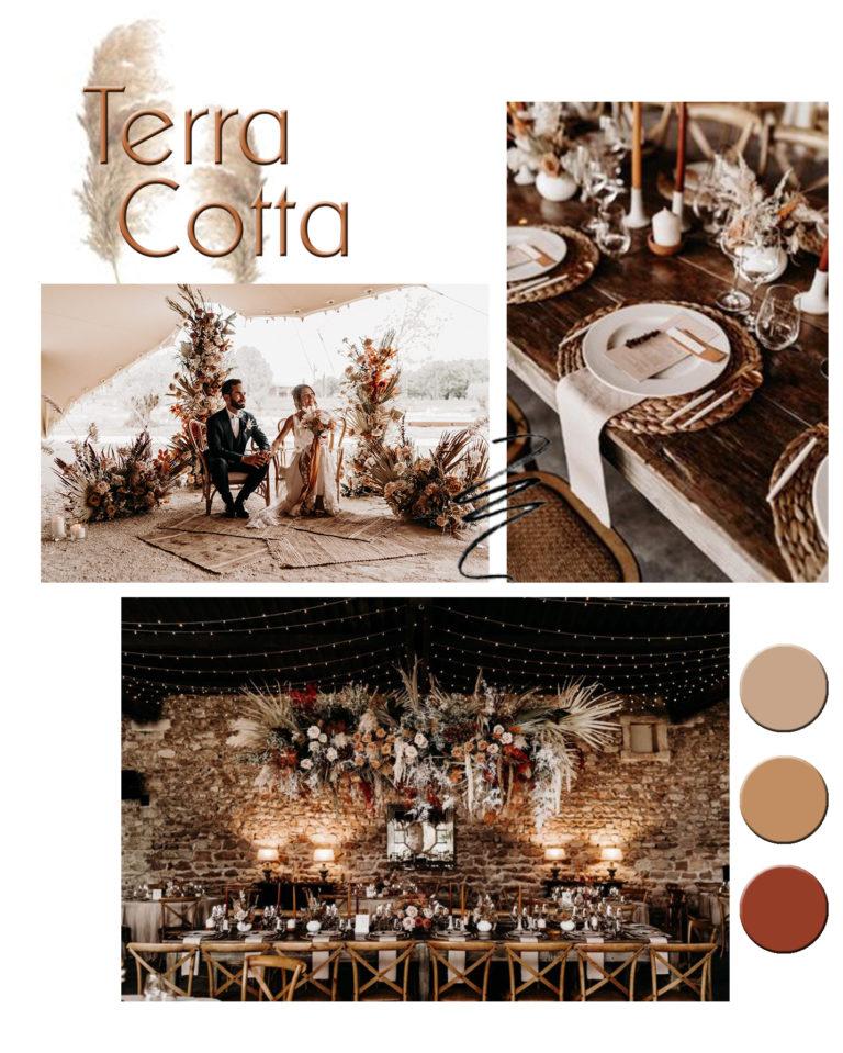 planche inspiration mariage terracotta décoratrice wedding designer orne
