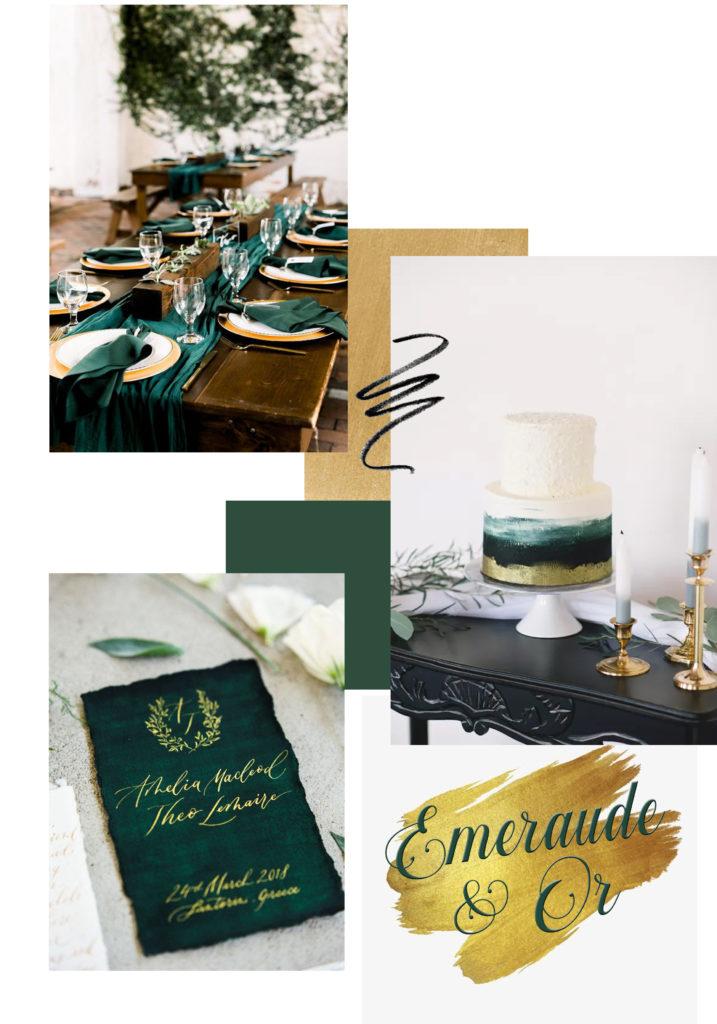vert emeraude décoration de mariage planche inspiration
