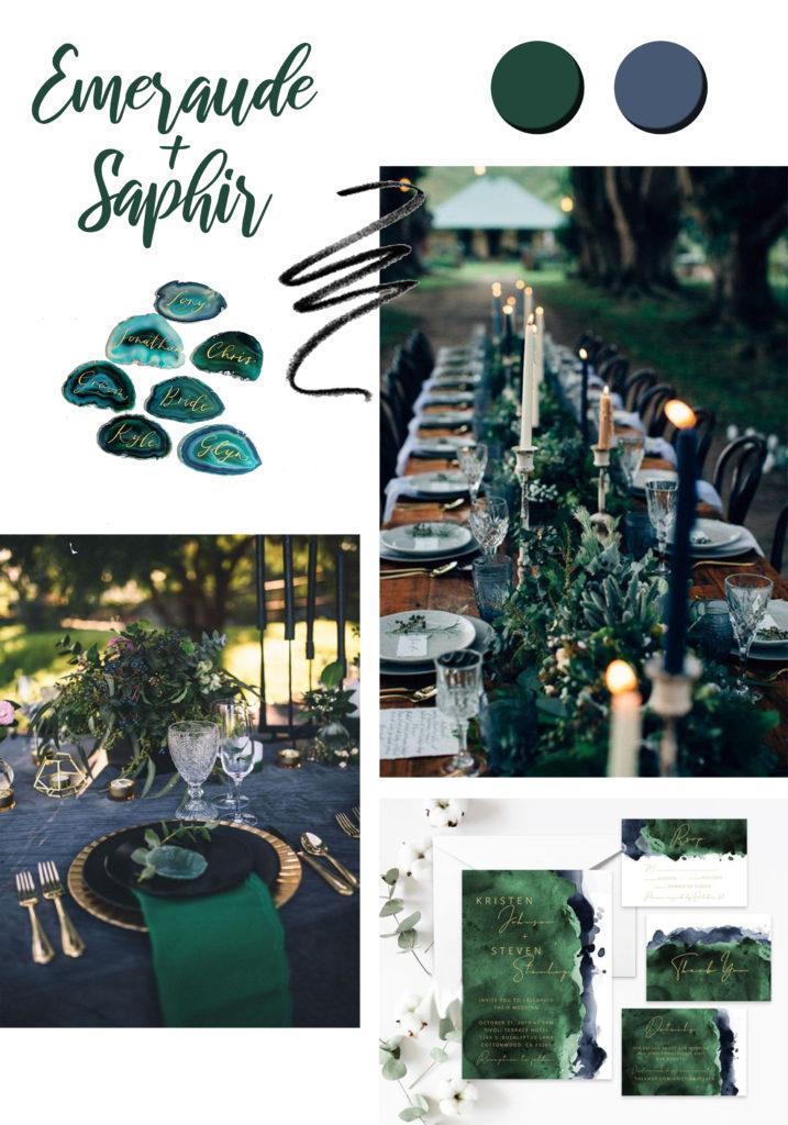 vert emeraude inspiration décoration de mariage