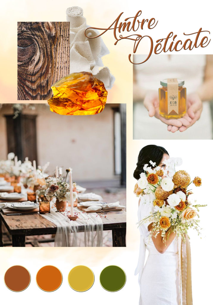 planche d'inspiration moodboard décoration mariage ambre