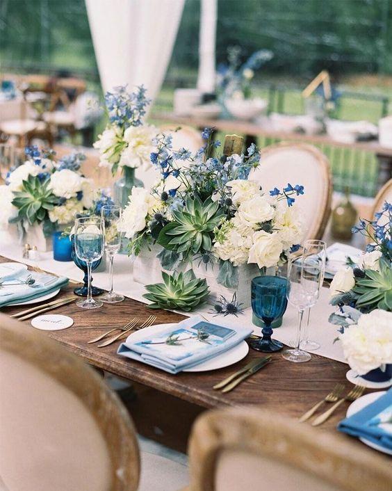 centre-de-table-mariage-bleu-vert-decoratrice-mariage-normandie