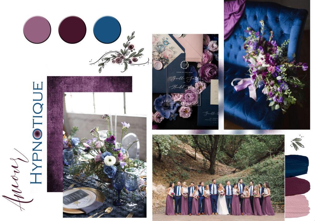 wedding-designer-normandie-alencon-inspiration-mariage-palette-coloree-amour-hypnotique-bleu-violet-parme-rose