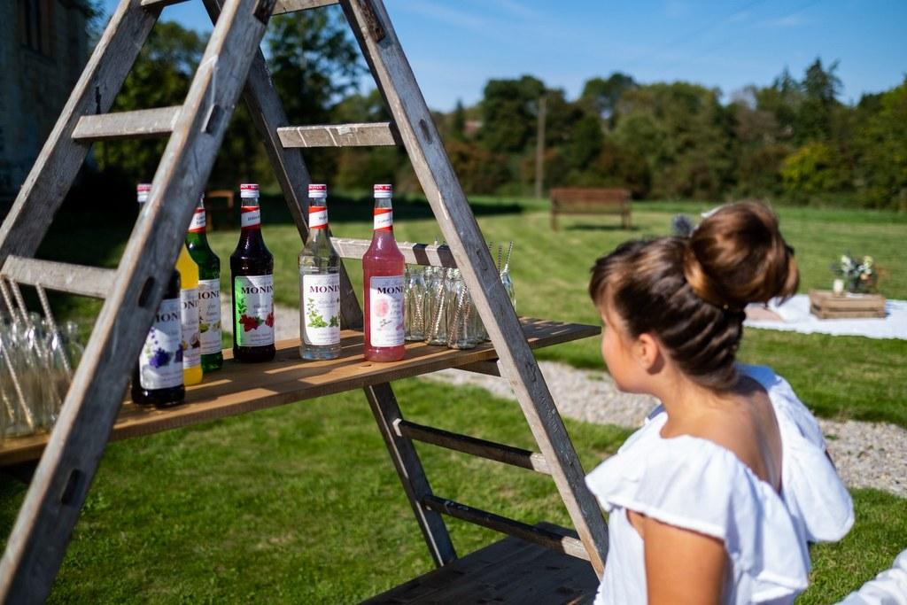 bar à sirops original pour le cocktail du mariage