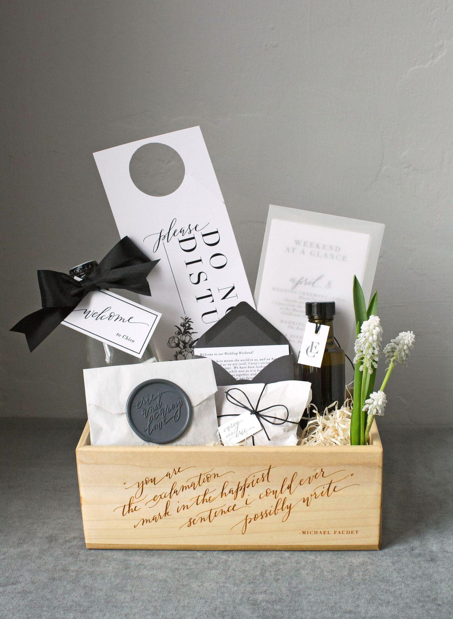 welcome bag coffret en bois bienvenue cadeaux invites haut de gamme mariage luxueux